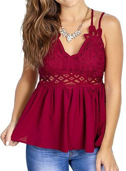 V Neck Patchwork Lace Sleeveless T-shirt online, stores and shops,