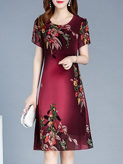 Round Neck Printed Shift Dress online shopping sites, clothing stores, printing Shift Dresses, a line dress, sheath dress
