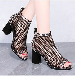 Chunky Heel Fishnet Sandals shoping, clothing stores,