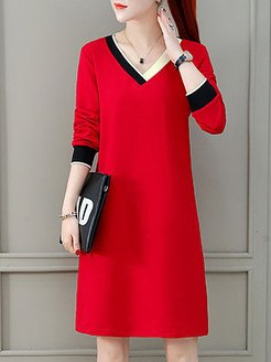 V-neck Casual Solid Color Dress shop, online stores, white linen dress, tea dress