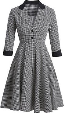 Retro British houndstooth contrast color collar long-sleeved dress online, online sale, Houndstooth Skater Dresses, lace fit and flare dress, fit and flare wedding dress