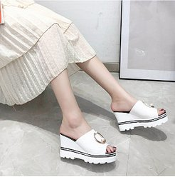 Pure color fish mouth wedge heel high-heeled slippers clothing stores, fashion store,
