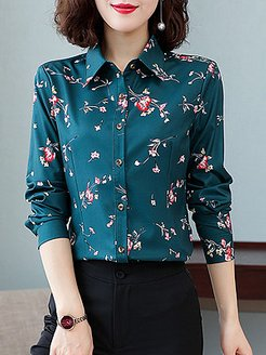 Turn Down Collar Print Long Sleeve Blouse sale, clothes shopping near me, dressy tops, blouses for women