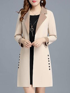 Slim fit printed midi coat online shop, fashion store, Solid Coats, leather jacket with fur, womens casual jackets