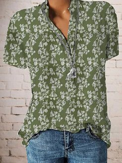 Band Collar Floral Print Short Sleeve Blouse online stores, online, printing Blouses, white shirt womens, peasant blouse