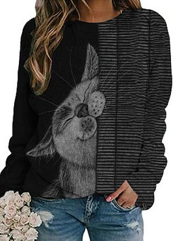 Black Cat Print Casual T-shirt For Women shoppers stop, online stores, printing Long sleeve T-shirts,