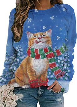 Snow And Cat Print Long Sleeve Casual T-shirt For Women shop, shoppers stop, printing Long sleeve T-shirts,