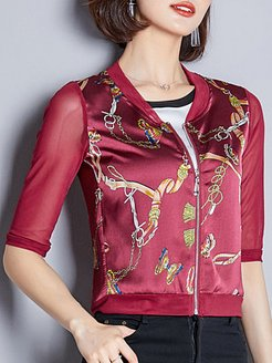 All-match printed female V-neck jacket shoping, fashion store, fall jackets, jean jacket with fur