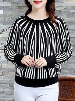 Round Neck Striped Long Sleeve Knit Pullover shoping, sale, sweaters, long sweaters