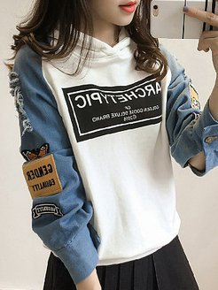 Fashion Patchwork Hooded Sweatshirt online stores, clothing stores, hoodie, hoodie jacket