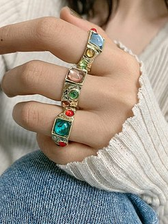 Retro Palace Style Round Diamond Color Ring Women online, stores and shops,