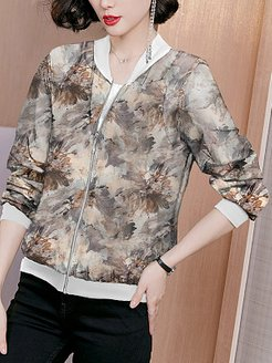 Long Sleeve Printed Sunscreen Jacket clothes shopping near me, stores and shops, dress coats for women, warm jackets for women