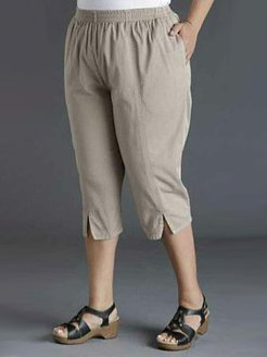 Casual Plus Size Simple Split Cropped Pants stores and shops, shoping,