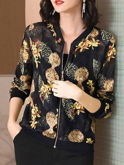 Crew Neck Print Jacket clothing stores, online sale, red jacket womens, leather jackets for women