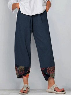 Floral Print Patchwork Elastic Waist Cotton Linen Pants sale, shoppers stop,