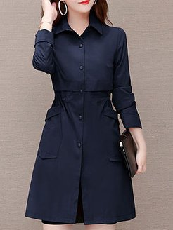 Square Collar Long Sleeve Solid Color Trench Coat online sale, online stores,