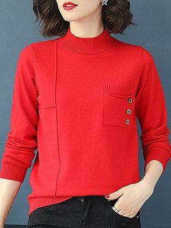 Short High Collar Elegant Pocket Long Sleeve Knit Pullover sweater clothing stores, clothes shopping near me, Solid Pullover, cardigan sweater, long cardigan sweater