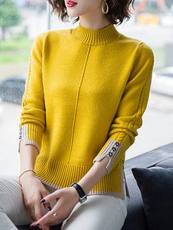 Half High Collar Patchwork Long Sleeve Knit Pullover clothes shopping near me, online stores, long cardigans for women, sweater hoodie