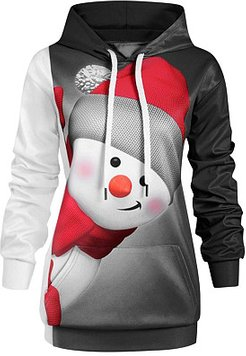 Snowman Print Hooded Long Sleeve Pullover online shopping sites, clothing stores,