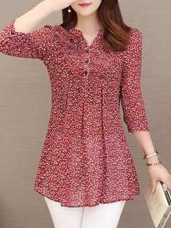 V-neck Print Chiffon Blouse shoppers stop, sale, going out tops, summer tops for women