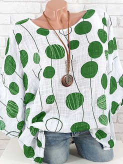 Polka Dot Three-Quarter Sleeve Blouse online, online stores, Wave Blouses, going out tops, cute tops