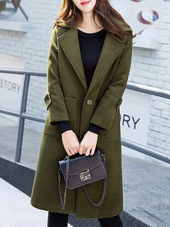 Temperament mid-length fold-over collar coat online sale, stores and shops, Long Coats, ladies jacket, jackets