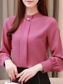 Band Collar Elegant Long Sleeve Blouse clothing stores, online stores, Long Blouses, dressy tops, silk blouse