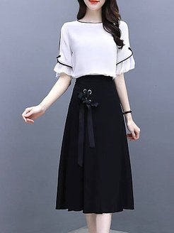 Round Neck Color Block Two-piece Skater Dress stores and shops, shoping, Color Skater Dresses, flare dress, long sleeve fit and flare dress