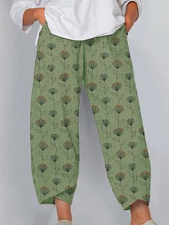 Casual printed cotton and linen wide-leg pants shop, shoppers stop,