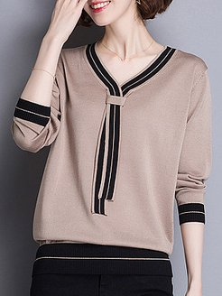 Casual V Neck Patchwork Long Sleeve Pullover Sweater shoping, sale, chunky sweater, v neck sweater