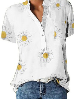 Band Collar Floral Print Short Sleeve Blouse clothes shopping near me, online shop, printing Blouses, lace top, blouses for women