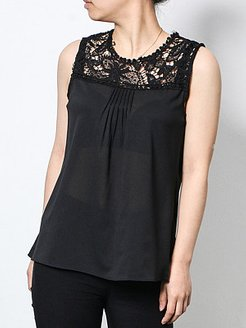 Round Neck Patchwork Lace Sleeveless T-shirt shop, online stores,