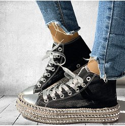 Retro Platform High-Top Canvas Shoes online, fashion store, Solid Sneakers,