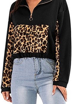 Casual sweater stitching leopard print long-sleeved slim top women stores and shops, clothes shopping near me, black jacket womens, long jackets for women