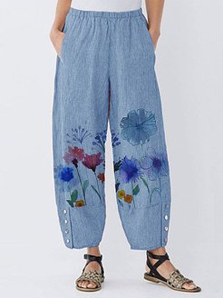 Wide-leg pants with stylish printed buttons clothing stores, clothes shopping near me,