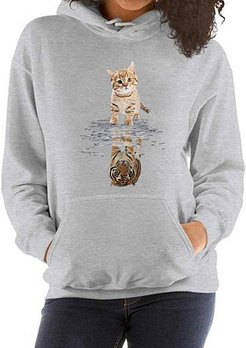 Cat Tiger Print Long Sleeve Hoodie online shopping sites, clothing stores, hoodies, sweatshirts for women