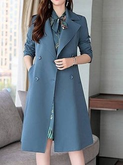 Turn-down Collar Long-sleeved Solid Color Trench Coat sale, online sale,