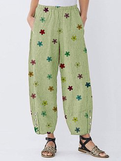 Trousers with colorful printed buttons stores and shops, shop,