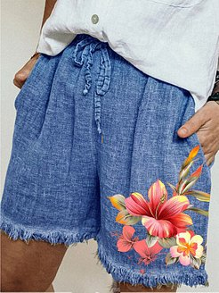Casual cotton and linen lace-up printed wide-leg shorts shoppers stop, sale,