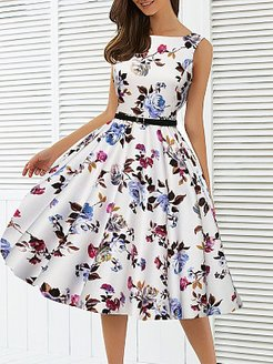Round Neck Floral Printed Skater Dress clothes shopping near me, sale, Floral Skater Dresses, ladies dress, red skater dress