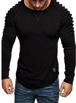 Casual Pleated Leather Patchwork Sweatshirt sale, online sale, Solid Men Shirts,