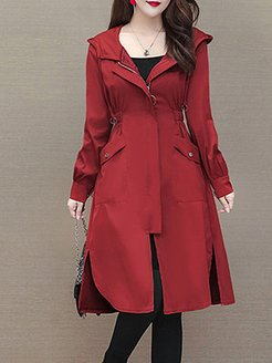 mid-length windbreaker spring and autumn hooded slim-fit over-the-knee coat shop, stores and shops,