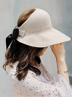 New hat female summer woven sunscreen empty top hat bowknot Korean version of the tide travel foldable wild sun hat online sale, online stores,