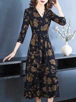 V-neck Print Dress online shop, shoppers stop, long formal dresses, dresses for juniors