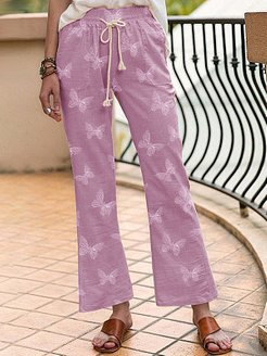 Butterfly print lace-up trousers sale, online,