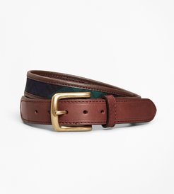 Boys' Leather And Canvas Black Watch Belt