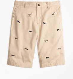 Boys' Washed Cotton Stretch Embroidered Chino Shorts