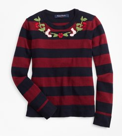 Girls' Girls Cotton Rugby Stripe Embroidered Sweater
