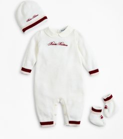 Girls' Girls Knit Wool Peter-Pan Collar Bodysuit, Hat & Booties Set - 3 Months