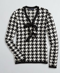 Bow-Neck Houndstooth Sweater